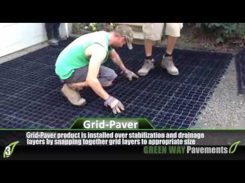 detailed installation of plastic grid pavers