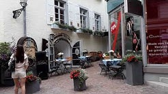 Baden Baden, Württemberg: Historic Center, Shopping Street and Restaurant.