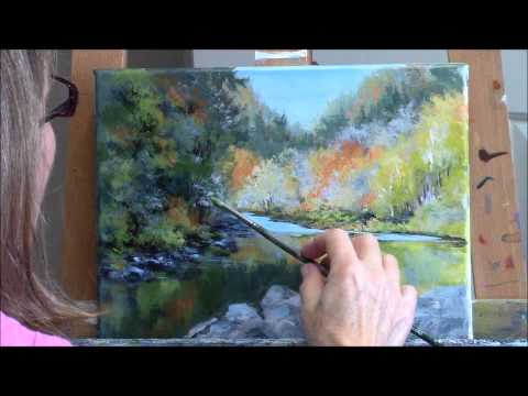 """Umpqua Reflections"" Part 2 – Acrylic Autumn River Landscape Painting Demo"