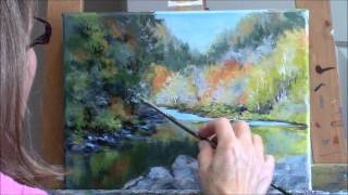 """Umpqua Reflections"" Part 2 - Acrylic Autumn River Landscape Painting Demo"