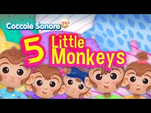 Cinque Scimmiette Saltavano Sul Letto.Five Little Monkeys Canzoni In Inglese Per Bambini