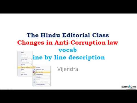The Hindu Editorial Analysis | 30th July | Changes in Anti-corruption law