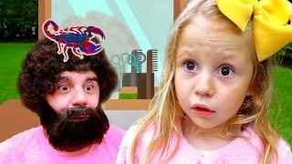 Stacy juega en un salón de belleza con papá