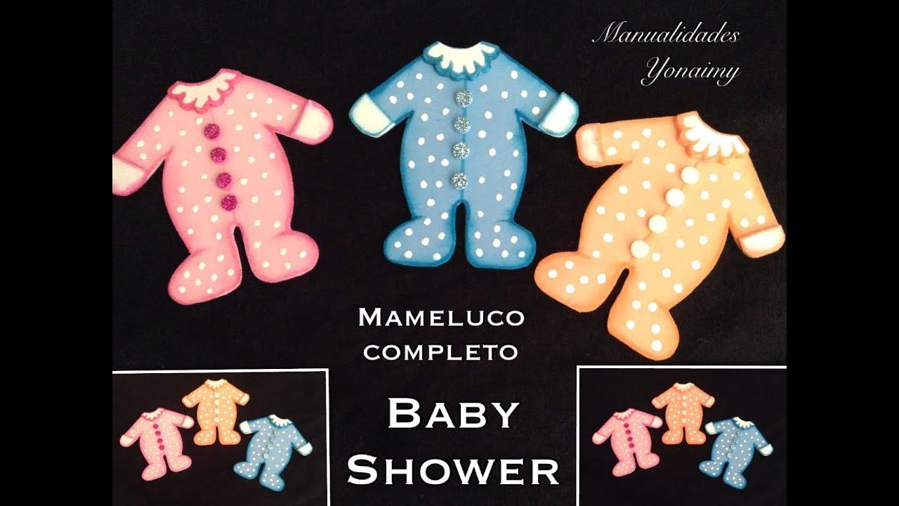 Mameluco completo para baby shower hecho con foamy o goma - Cositas para bebes manualidades ...