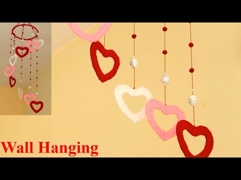 Heart Wall Hanging ❤✴💚 Room Decoration Idea ❤💛💖 DIY Wall Hanging Using Woolen