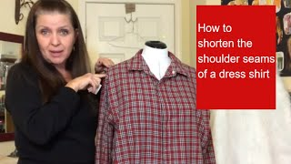 How to shorten the shoulder seams of a dress shirt.
