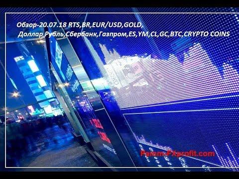Обзор-20.07.18 RTS,BR,EUR/USD,GOLD, Доллар Рубль,Сбербанк,Газпром,ES,YM,CL,GC,BTC,CRYPTO COINS