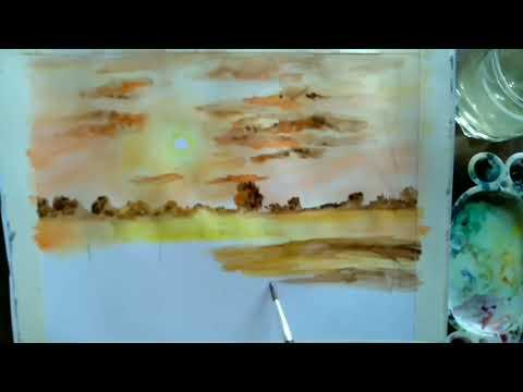Village landscape/how to paint sunset landscape/easy water colour painting tutorial