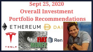 Ethereum, Tesla, cryptocurrency, USD, etc.  investment portfolio allocation September 25, 2020