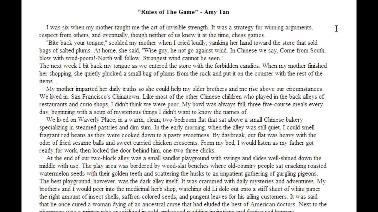amy tan essay professional scholarship essay writing service gb  rules of the game analysis part