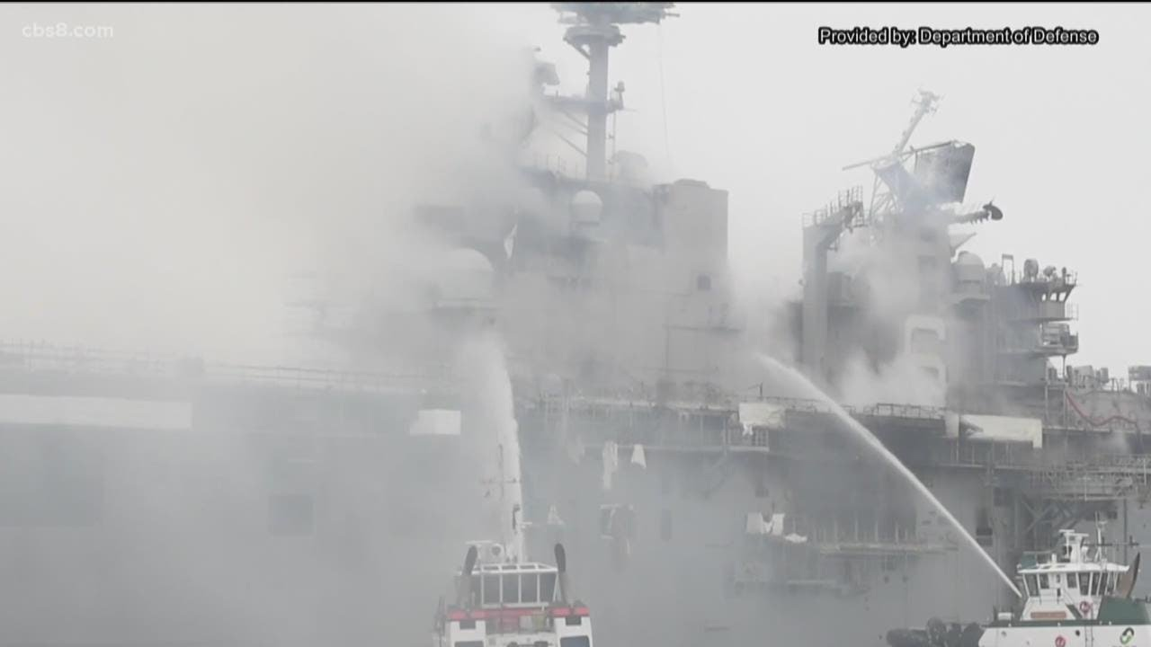 Fire continues to burn for a 4th day on USS Bonhomme Richard