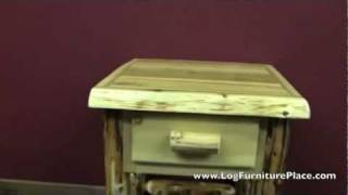Cedar Lake Cabin 1 Drawer Log Nightstand With Shelf From Logfurnitureplace.com