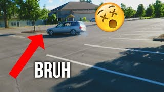 Kid tries to drift mom's car... (gone wrong)