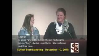 St. Louis Park School Board Meeting 12/10/18