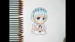Speed Drawing - Rem Fan art - Colored Pencils