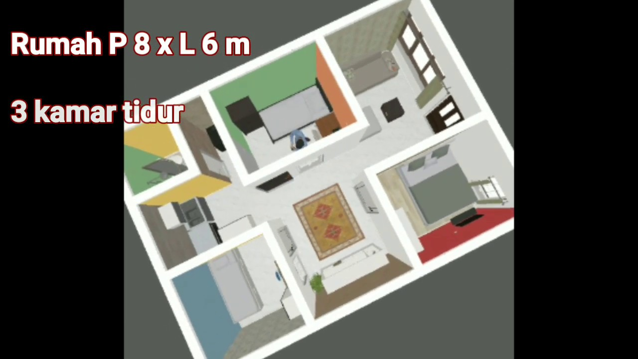 denah rumah 6x8 3 kamar tidur 1 lantai