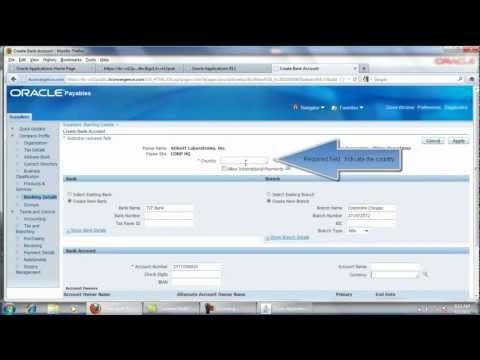 How to Add a Bank / Branch Account to a Supplier - Oracle Payables