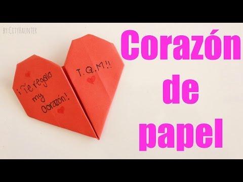 Cómo hacer un CORAZÓN DE PAPEL MUY FÁCIL ♥♥   FunnyDog.TV