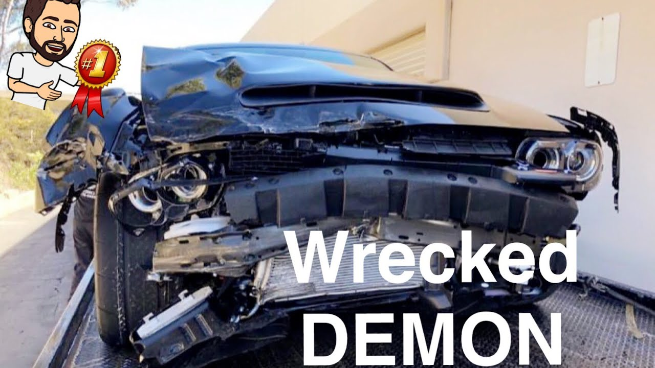 1st Wrecked Crashed Dodge Demon It S Totaled Youtube