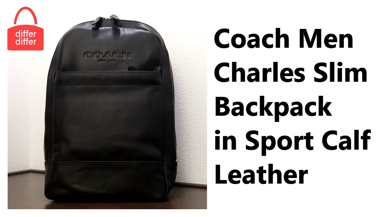 79abcfd1649b Coach Men Charles Slim Backpack in Sport Calf Leather 54135 - YouTube
