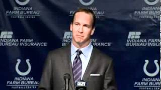 Peyton Manning Crying at Press Conference Announcing He Is Leaving Colts