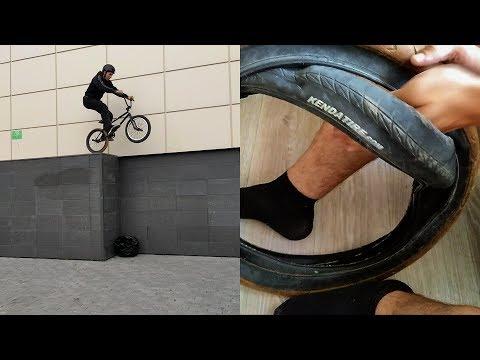 День BMX'ера \ How To как забортовать 2 покрышки в одну, дропнул с арены