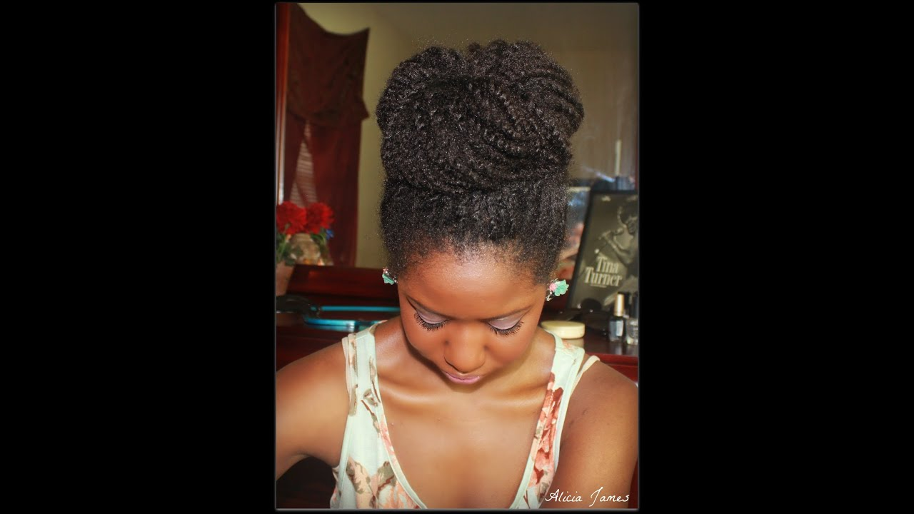 Big High Bun With My Natural Hair Two Strand Twist