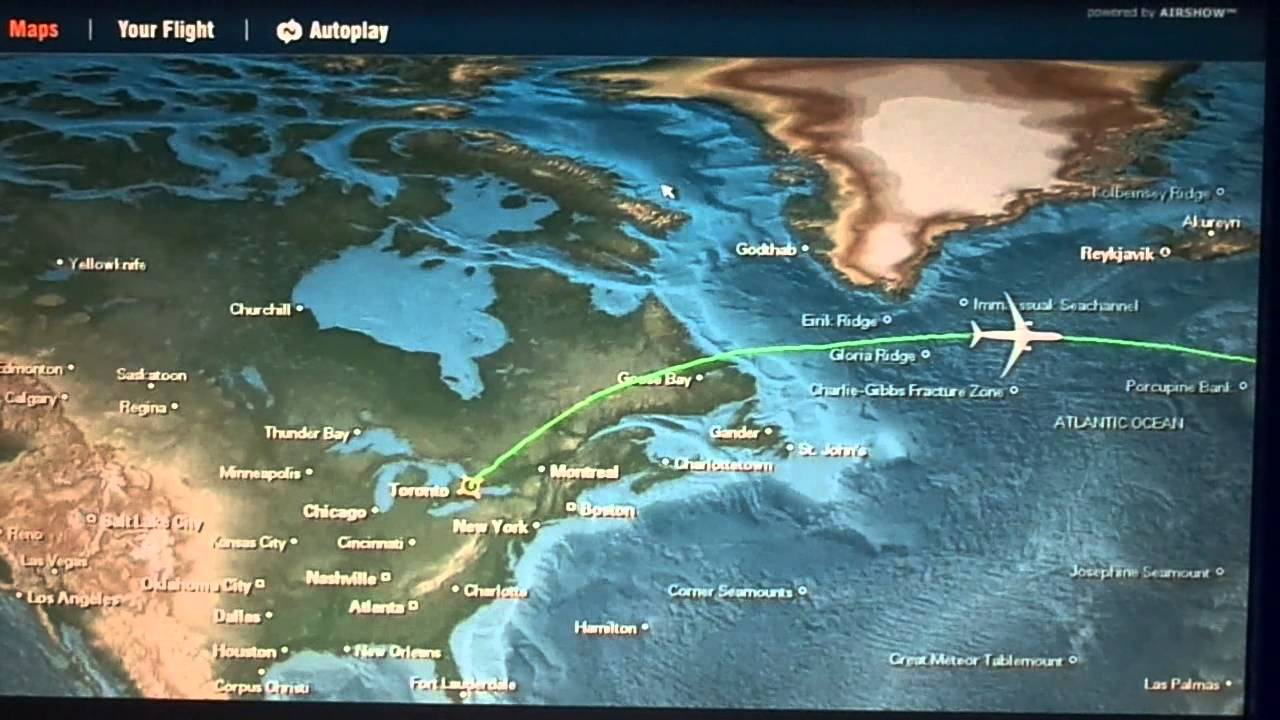 Toronto-to-London (LHR) flight: takeoff, in-flight route map ...