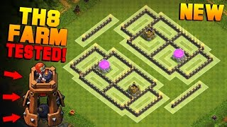 Clash of Clans | TH8 Farming Base with NEW BOMB TOWER | BEST Town Hall 8 Farming Base + PROOF [2016]