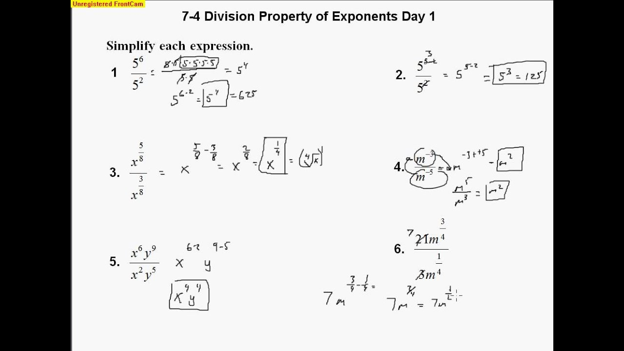 Exponent properties worksheet 2 2 1 answers