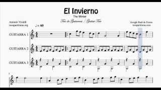 El Invierno Partitura de Trío de Guitarra The Winter Sheet Music for Three Guitars