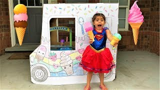 Kids Pretend Play with Ice Cream Toy Truck fun video