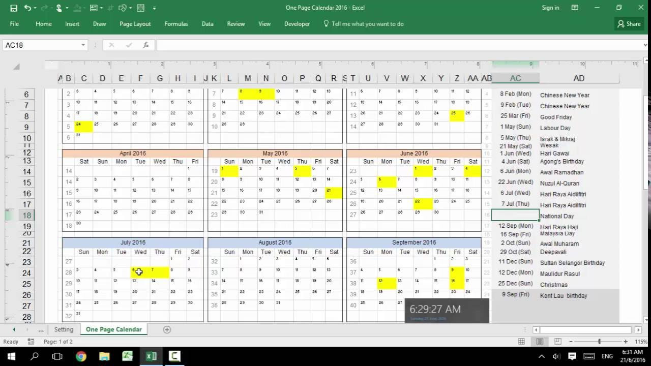 Excel Customizable Calendar For Year 2016 2017 2018 2019 2020