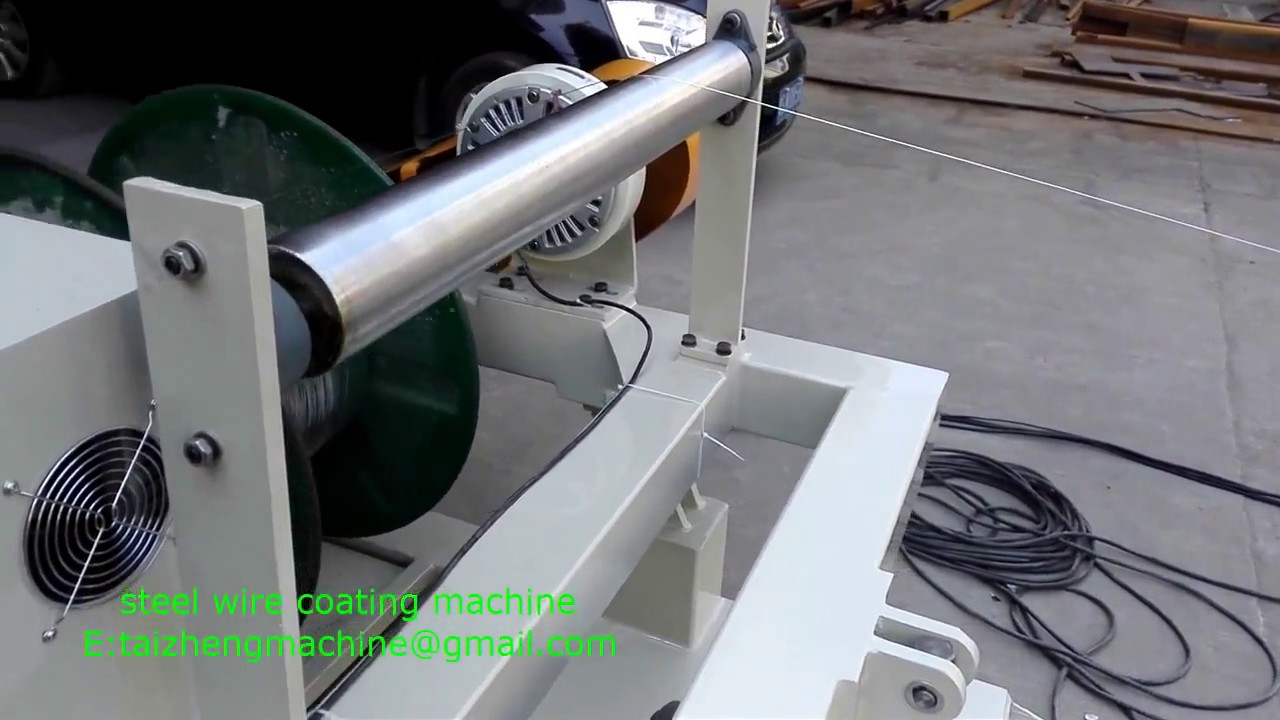 stainless steel wire rope coating machine - YouTube