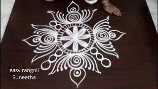Bright n cute rangoli arts designs by Suneetha||easy n simple kolam with out dots || daily muggulu