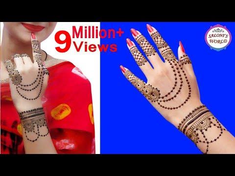 Latest Ornamental Jewellery Style Back Hand Henna Mehndi Designs by Jyoti Sachdeva.