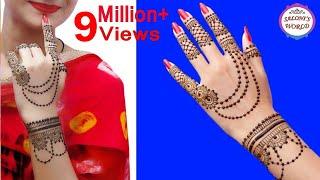 Beautiful Henna Mehndi Jewellery : Jewellery style back hand henna mehndi design clipzui