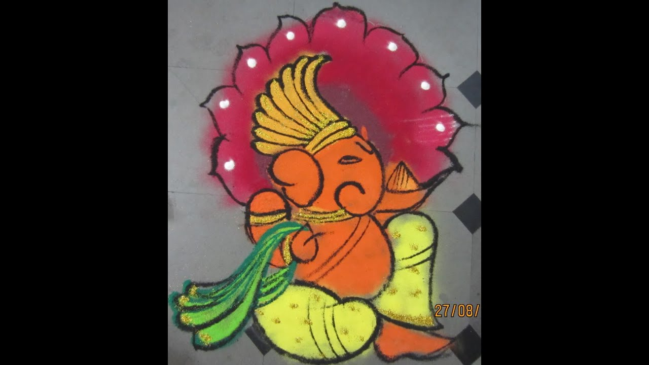 how to make ganesha rangoli - YouTube