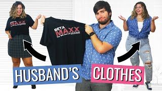 I Tried Styling My Husband's Clothes Into Trendy Outfits