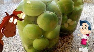 Зеленые помидоры как бочковые в банке на зиму