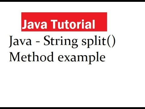 Split() String method in Java with examples