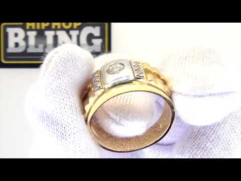 10K Yellow Gold Clean CZ Mens Ring | Bling Bling | SMR0129