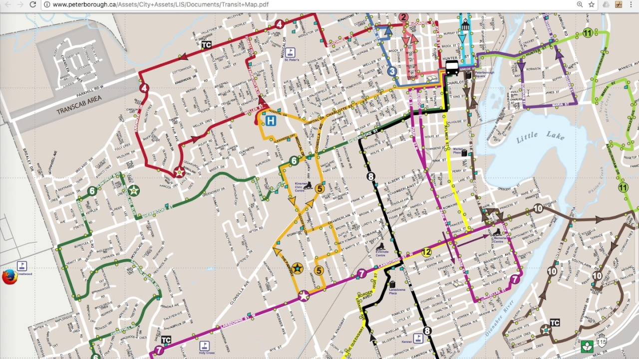 Peterborough Transit Map How to read Peterborough ontario Bus map   YouTube