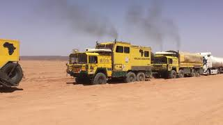 Heavy Recovery 30 Ton Gasoline Truck in the Sahara Dessert with tree MAN KAT's