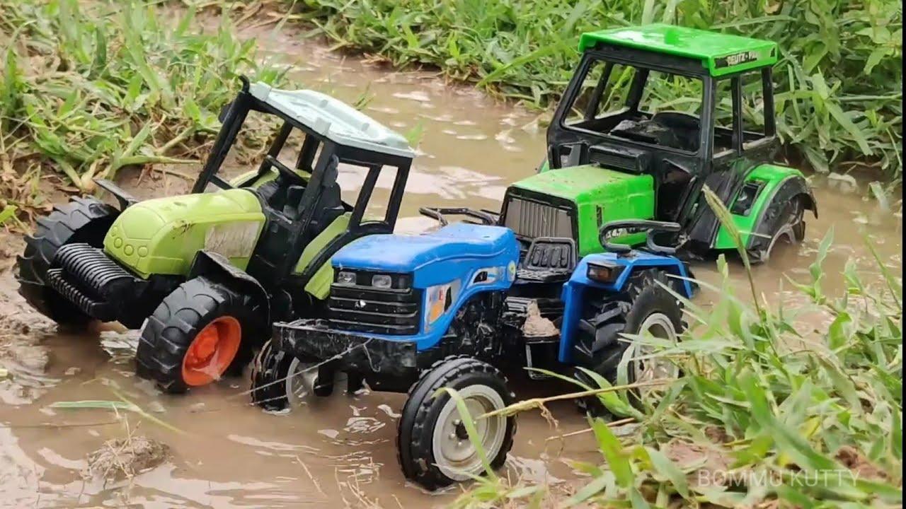 Deutzfahr tractor stuck in heavy mud rescue by Claas Tractor & Ace Tractor | tractor toy video