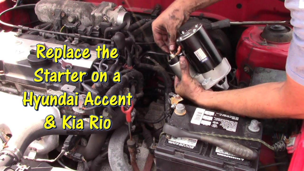 hight resolution of how to replace a starter on a hyundai accent kia rio by gettinjunkdone