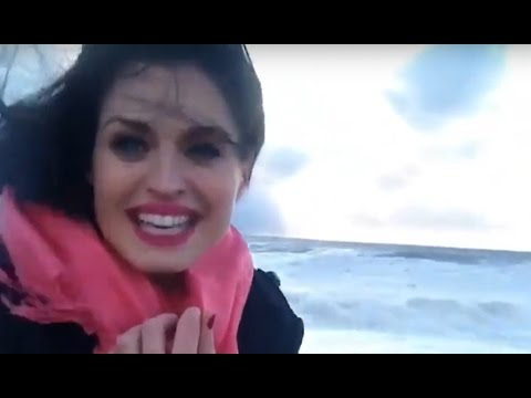 Girl almost swept into sea while filming massive storm in Sochi