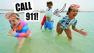 BEACH EMERGENCY!! Giant Jellyfish Call 911?