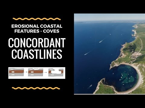 What are Concordant coasts (Coves) and how do they form- annotated diagram and explanation