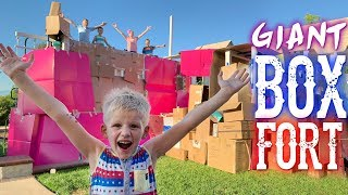We Turned Our Playground into a Giant Box Fort!!